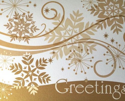 Digital printing with gold metallic ink.